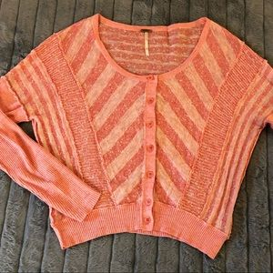 Free people pink striped cardigan small